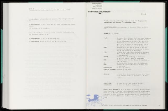 Raadsverslagen van de gemeente Leeuwarden, 1865-2007 (Notulen) 1998-12-14