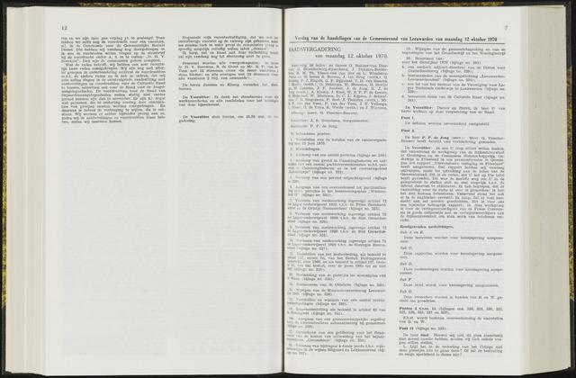 Raadsverslagen van de gemeente Leeuwarden, 1865-2007 (Notulen) 1970-10-12