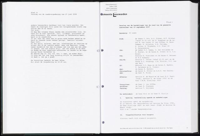 Raadsverslagen van de gemeente Leeuwarden, 1865-2007 (Notulen) 2007-09-10
