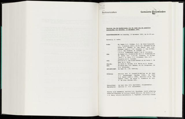 Raadsverslagen van de gemeente Leeuwarden, 1865-2007 (Notulen) 1993-12-13