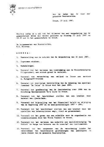 Boarnsterhim vergaderstukken gemeenteraad  1987-07-21