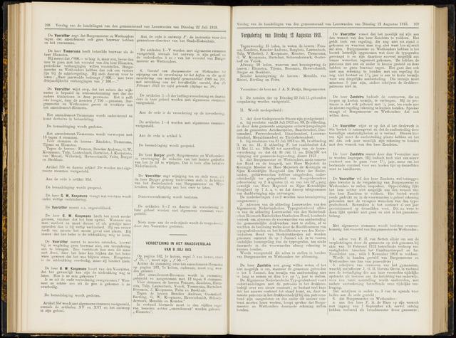 Raadsverslagen van de gemeente Leeuwarden, 1865-2007 (Notulen) 1913-08-12