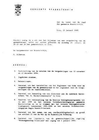 Boarnsterhim vergaderstukken gemeenteraad  1995-01-24
