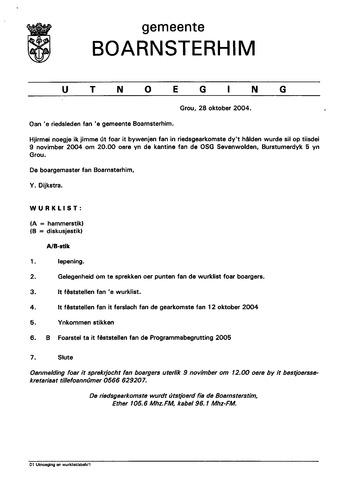 Boarnsterhim vergaderstukken gemeenteraad  2004-11-09