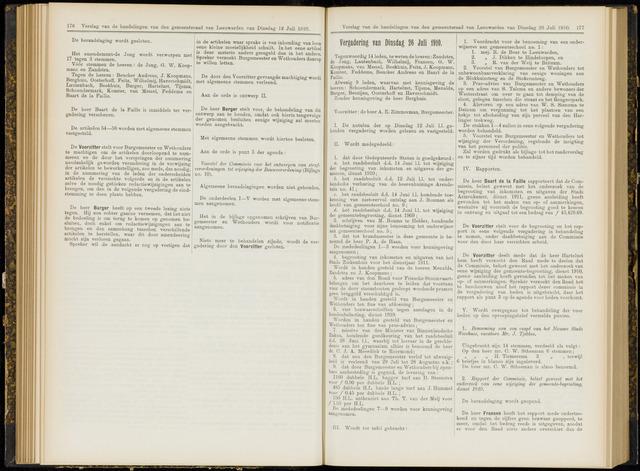 Raadsverslagen van de gemeente Leeuwarden, 1865-2007 (Notulen) 1910-07-26