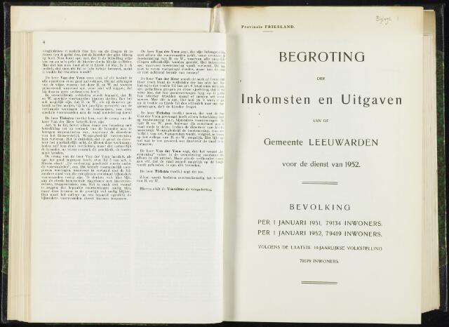 Raadsverslagen van de gemeente Leeuwarden, 1865-2007 (Bijlagen) 1952-01-01