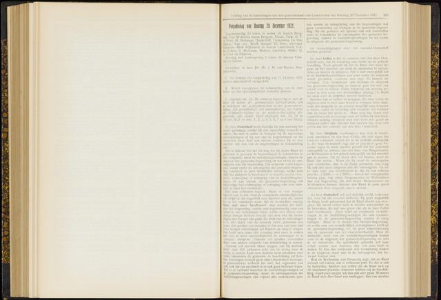 Raadsverslagen van de gemeente Leeuwarden, 1865-2007 (Notulen) 1921-12-20