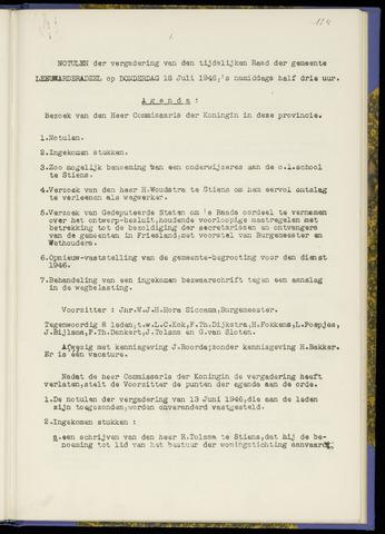 Notulen van de gemeenteraad van Leeuwarderadeel 1946-07-18