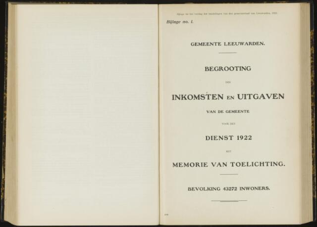 Raadsverslagen van de gemeente Leeuwarden, 1865-2007 (Bijlagen) 1922-01-01