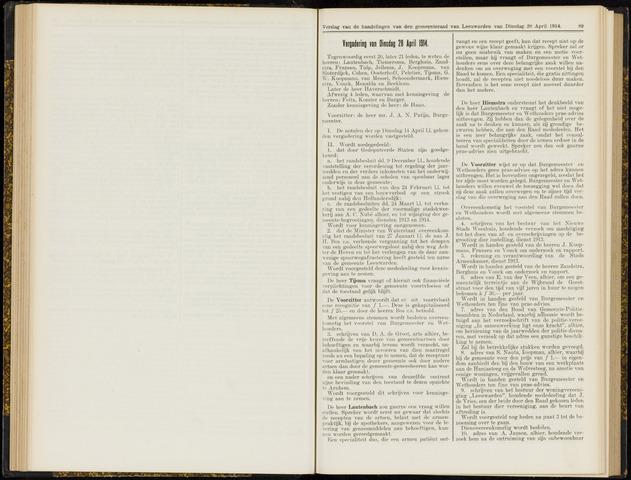 Raadsverslagen van de gemeente Leeuwarden, 1865-2007 (Notulen) 1914-04-28