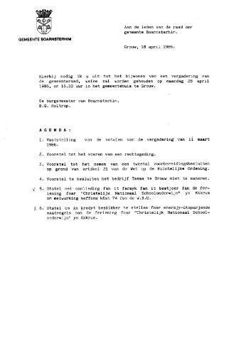 Boarnsterhim vergaderstukken gemeenteraad  1986-04-28