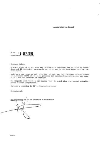 Boarnsterhim vergaderstukken gemeenteraad  1999-09-22
