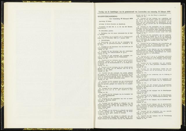 Raadsverslagen van de gemeente Leeuwarden, 1865-2007 (Notulen) 1959-02-18