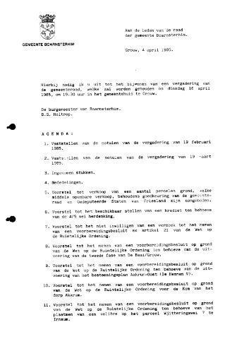 Boarnsterhim vergaderstukken gemeenteraad  1985-04-16