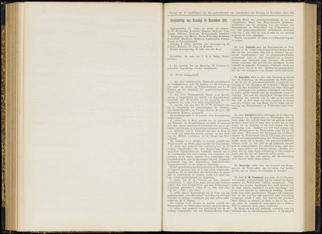 Raadsverslagen van de gemeente Leeuwarden, 1865-2007 (Notulen) 1911-11-14