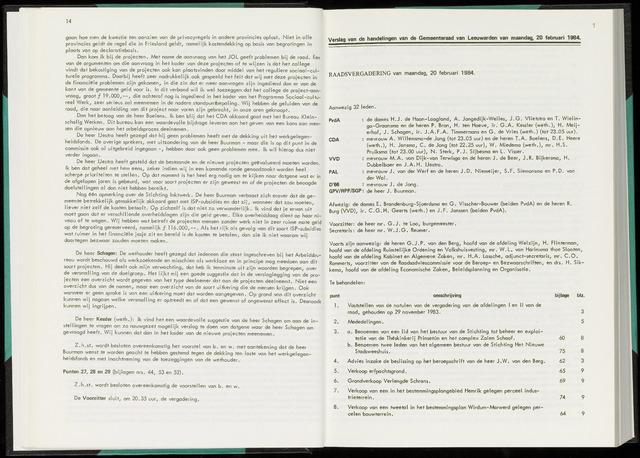 Raadsverslagen van de gemeente Leeuwarden, 1865-2007 (Notulen) 1984-02-20