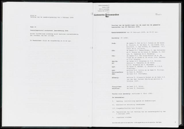 Raadsverslagen van de gemeente Leeuwarden, 1865-2007 (Notulen) 2005-02-28