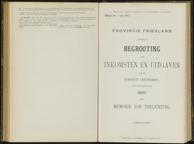 Raadsverslagen van de gemeente Leeuwarden, 1865-2007 (Bijlagen) 1907-01-01