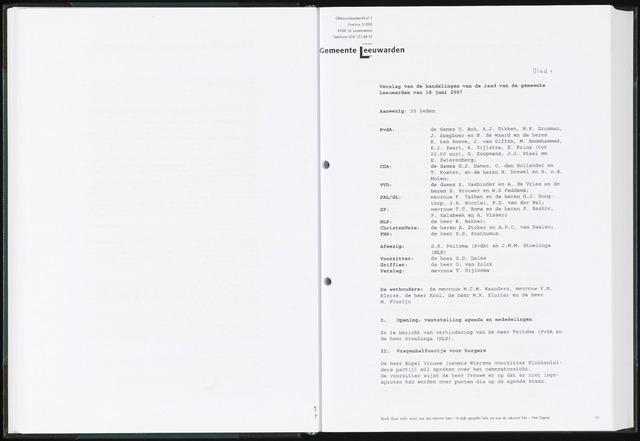 Raadsverslagen van de gemeente Leeuwarden, 1865-2007 (Notulen) 2007-06-18