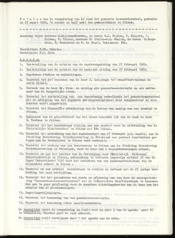Notulen van de gemeenteraad van Leeuwarderadeel 1969-03-27
