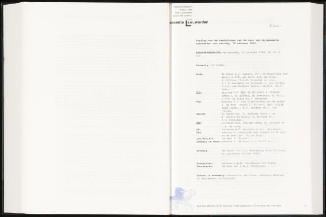 Raadsverslagen van de gemeente Leeuwarden, 1865-2007 (Notulen) 1999-10-18