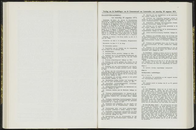 Raadsverslagen van de gemeente Leeuwarden, 1865-2007 (Notulen) 1974-08-26