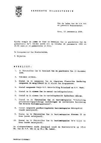 Boarnsterhim vergaderstukken gemeenteraad  1999
