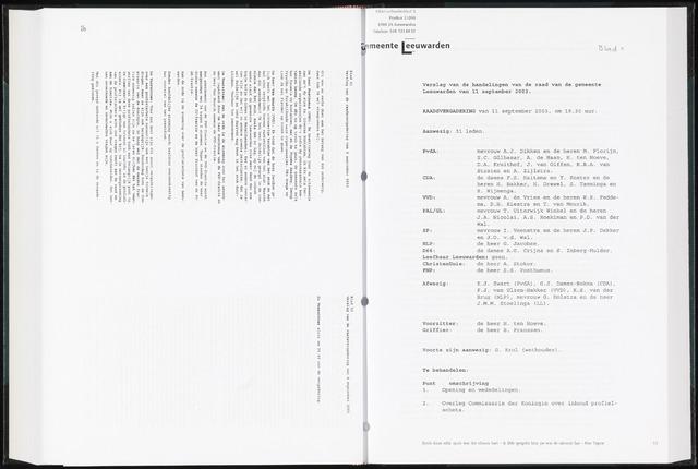 Raadsverslagen van de gemeente Leeuwarden, 1865-2007 (Notulen) 2003-09-11