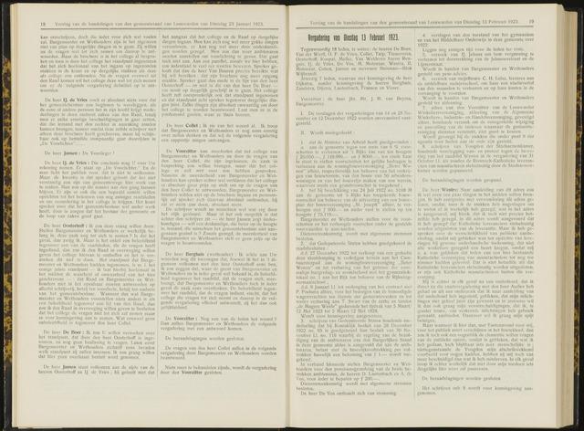 Raadsverslagen van de gemeente Leeuwarden, 1865-2007 (Notulen) 1923-02-13