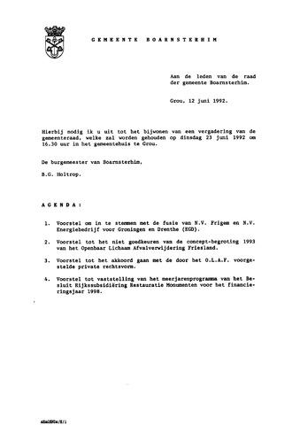 Boarnsterhim vergaderstukken gemeenteraad  1992-06-23