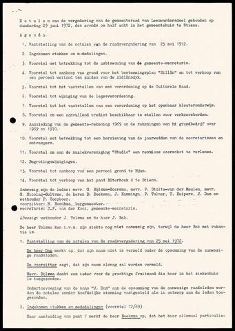 Notulen van de gemeenteraad van Leeuwarderadeel 1972-06-29
