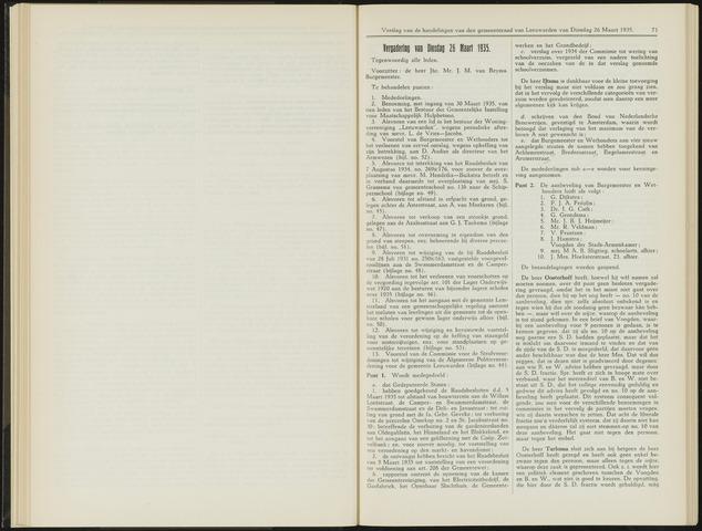 Raadsverslagen van de gemeente Leeuwarden, 1865-2007 (Notulen) 1935-03-26