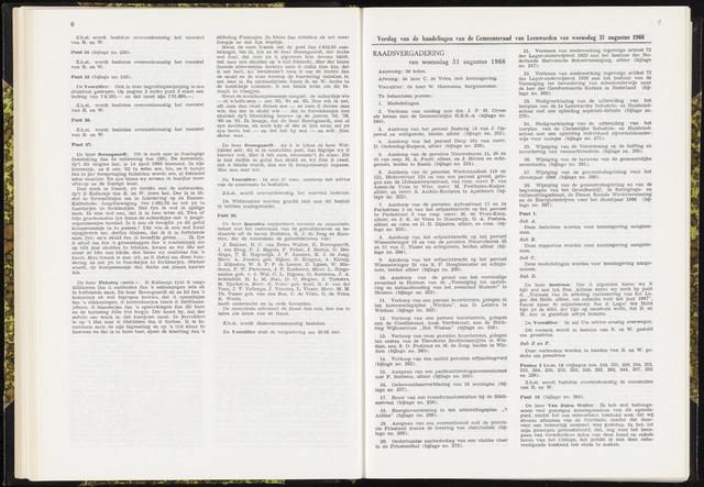 Raadsverslagen van de gemeente Leeuwarden, 1865-2007 (Notulen) 1966-08-31