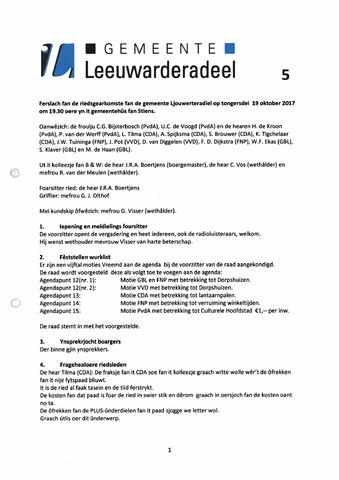 Notulen van de gemeenteraad van Leeuwarderadeel 2017-11-16