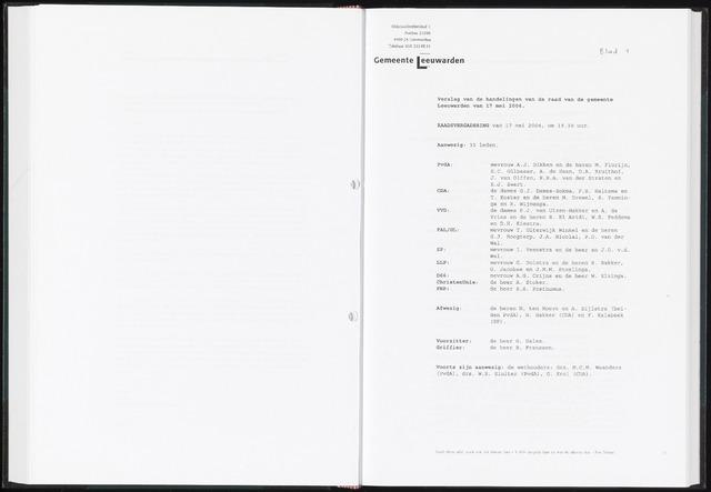 Raadsverslagen van de gemeente Leeuwarden, 1865-2007 (Notulen) 2004-05-17