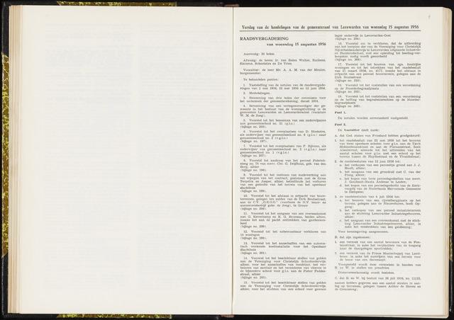 Raadsverslagen van de gemeente Leeuwarden, 1865-2007 (Notulen) 1956-08-15