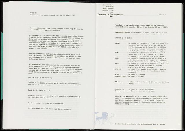 Raadsverslagen van de gemeente Leeuwarden, 1865-2007 (Notulen) 1997-04-14