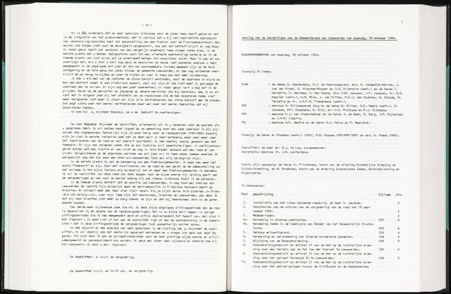 Raadsverslagen van de gemeente Leeuwarden, 1865-2007 (Notulen) 1989-10-30