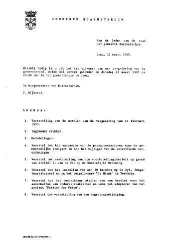 Boarnsterhim vergaderstukken gemeenteraad  1995-03-21