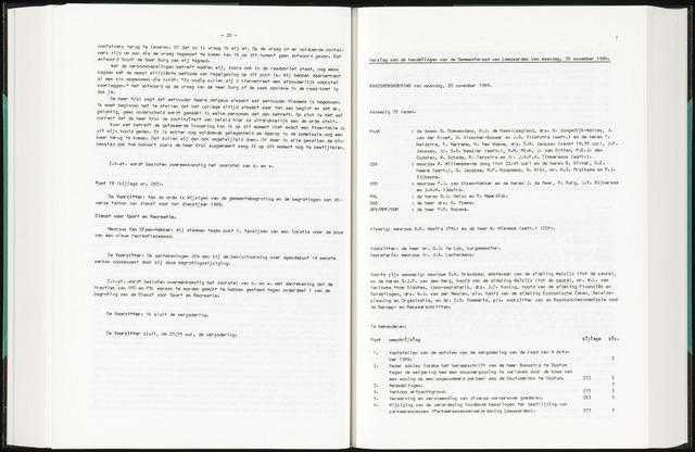 Raadsverslagen van de gemeente Leeuwarden, 1865-2007 (Notulen) 1989-11-20