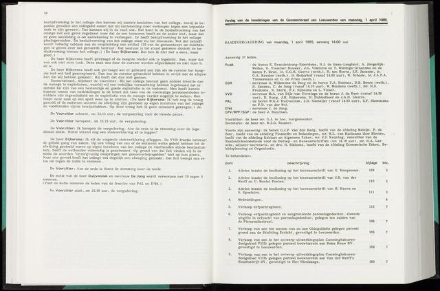 Raadsverslagen van de gemeente Leeuwarden, 1865-2007 (Notulen) 1985-04-01