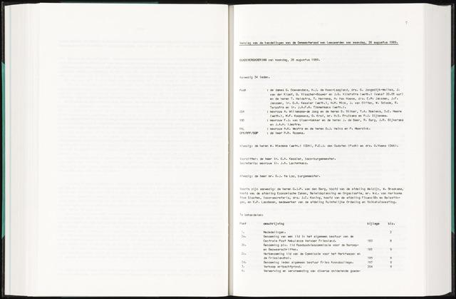 Raadsverslagen van de gemeente Leeuwarden, 1865-2007 (Notulen) 1989-08-28