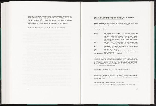 Raadsverslagen van de gemeente Leeuwarden, 1865-2007 (Notulen) 1992-10-27