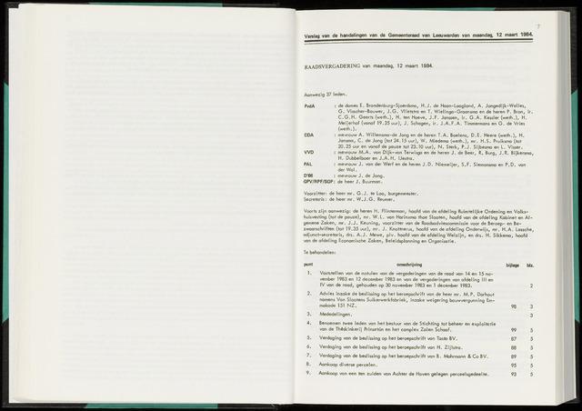 Raadsverslagen van de gemeente Leeuwarden, 1865-2007 (Notulen) 1984-03-12