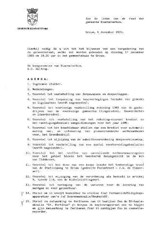 Boarnsterhim vergaderstukken gemeenteraad  1985-12-17