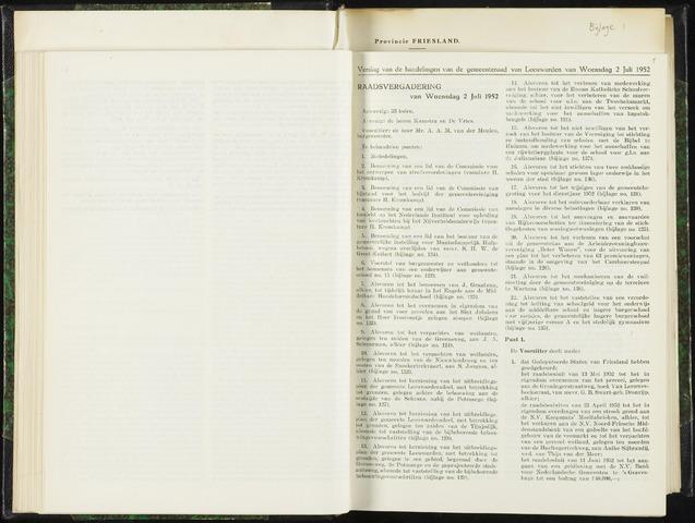 Raadsverslagen van de gemeente Leeuwarden, 1865-2007 (Notulen) 1952-07-02