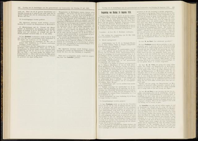 Raadsverslagen van de gemeente Leeuwarden, 1865-2007 (Notulen) 1926-08-24