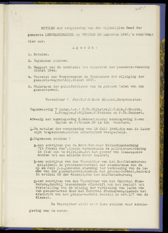 Notulen van de gemeenteraad van Leeuwarderadeel 1946-08-16
