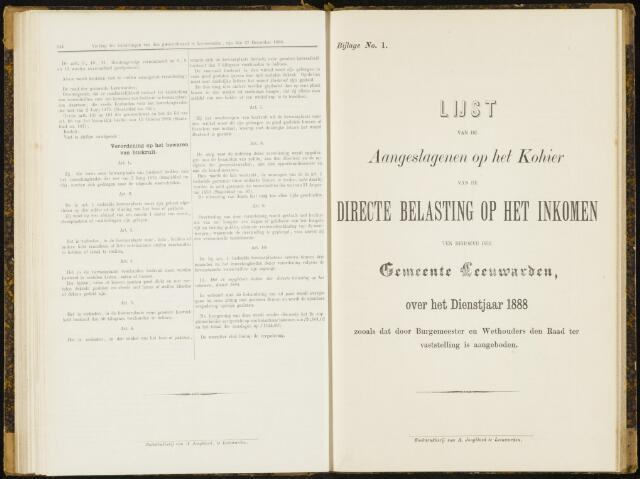 Raadsverslagen van de gemeente Leeuwarden, 1865-2007 (Bijlagen) 1888-01-01