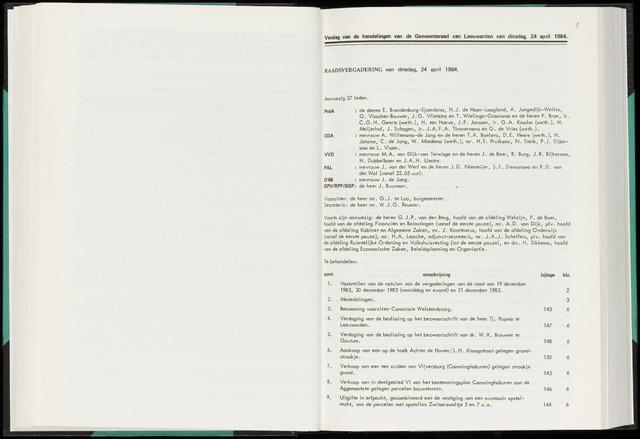 Raadsverslagen van de gemeente Leeuwarden, 1865-2007 (Notulen) 1984-04-24